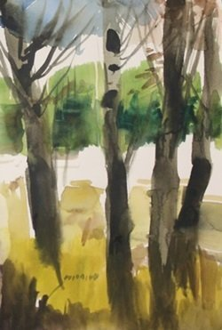 """Original Watercolor On Paper """"birch Forest"""" By Michael"""
