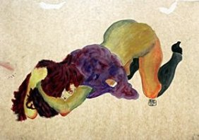 Nude Girl - Watercolor Painting On Paper - Egon Schiele