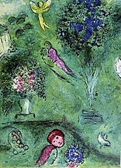 Lithograph By Marc Chagall- Philetas And His Orchard