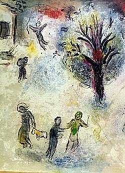 Lithograph By Marc Chagall- The Meal At Dryas's House