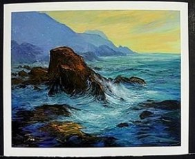 """Lithograph """"high Tides"""" After Michael Schofield"""