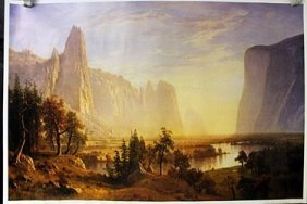 "Lithograph ""yosemite Valley "" By Albert Bierstadt."