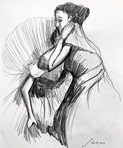 Pencil Drawing - Signed Degas