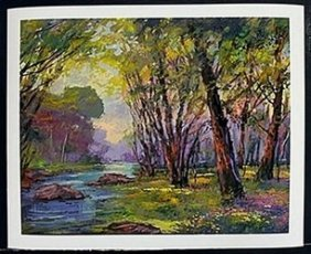 """Lithograph """"meadow Creek"""" After Michael Schofield"""