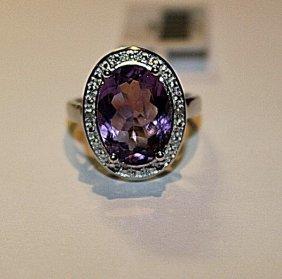 Beautiful Amethyst & Diamond Ring