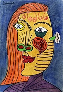 Portrait Of A Woman - Pastel Drawing - P. Picasso