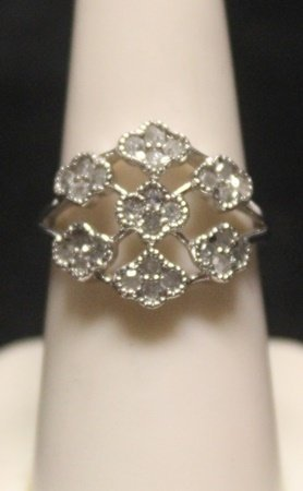 Fancy 14 Kt White Gold Diamond Ring