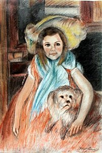 Girl With A Dog - Pastel On Paper - Mary Cassatt
