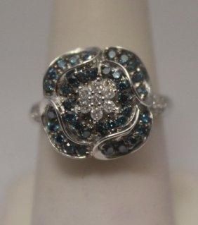 Fine Blue & White Diamonds Silver Ring
