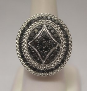 Fancy Black Diamonds Silver Ring