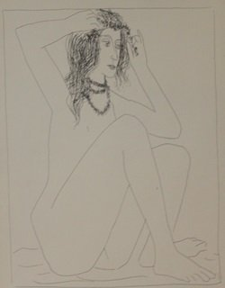 Seated Nude Grooming Herself - Lithograph By Picasso