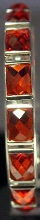 Fancy Sterling Silver Lab Orange Tourmaline Bracelet.
