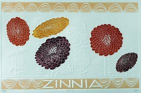 """Embossed Lithograph """"zinnia"""" After Hari Hockey"""