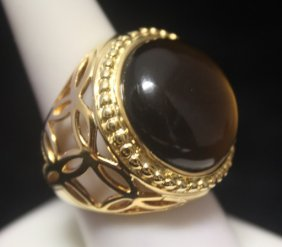 Stunning 14kt Gold Over Silver Tiger Eye Ring