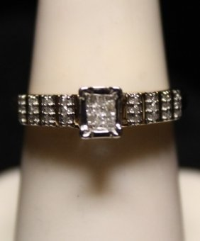 Lady's Fancy Diamond Ss Ring