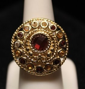 Gorgeous Rubies, Topaz & Golden Sapphires Ring