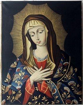 Virgen Maria Oil By Raul Aranda Zavaleta