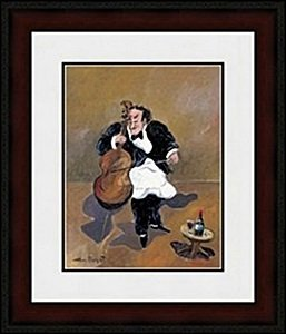 Cellist With Red Wine By Buffet
