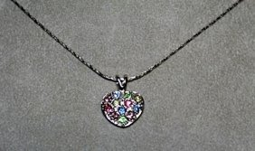 Lady's Silver Pendant With Lab, Peridots And Topaz.