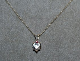 Lady's Fancy White Sapphire & Ruby Necklace.