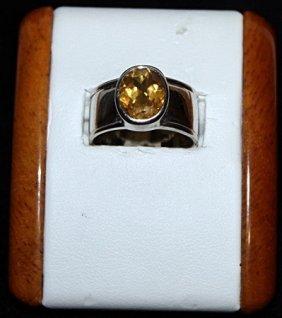 Beautiful Citrine Silver Ring.