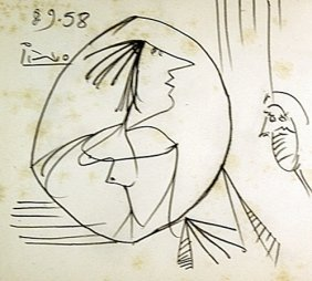 Original Hand Draw, Ink Drawing . Signed Picasso