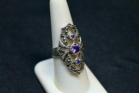 Lady's Beautiful Marcasite Tanzanite Ring 51j