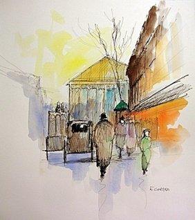 Original Watercolor On Paper Signed Eduardo Cortez