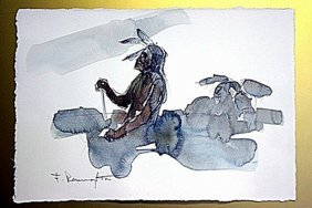 Frederic Remington Original Watercolor On Paper -two