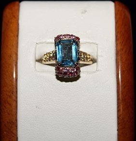 Lady's Royal Blue Topaz With Green Sapphires & Rubies