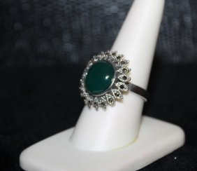 Very Fancy Jade & Black Diamond Ring. 290j