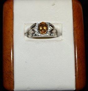 Beautiful Citrine And Diamond Ring.