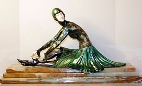 Signed Chiparus Bronze And Ivory - Tanara