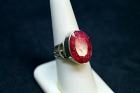 Unisex Fancy Ruby Silver Ring.
