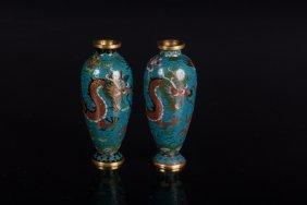 A Pair Of Small Cloisonnè Vase