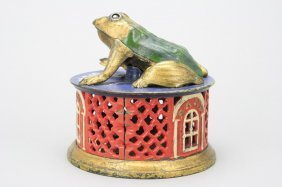 Frog On Lattice - Red Version Mechanical Bank