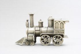 Safety Locomotive, Nickel Plated Mechanical Bank