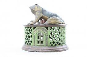 Frog On Lattice - Green Base Mechanical Bank