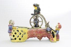 Professor Pug Frog's Great Bicycle Feat Mechanical Bank
