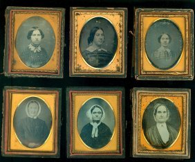 6 Ninth Plate Daguerreotypes Of Ladies