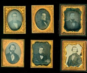 6 Ninth Plate Daguerreotypes Of Men