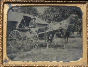 Cased Tintype Of A Horse And Buggy
