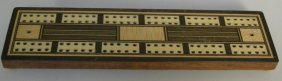 English Inlaid Cribbage Board With Pegs