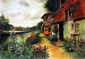 The Red Roof 1870' - Pastel - Camille Pissarro