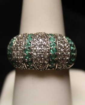 Fancy Columbian Emerald & White Sapphires Ss Ring