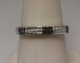 Elegant Black Diamonds Silver Band