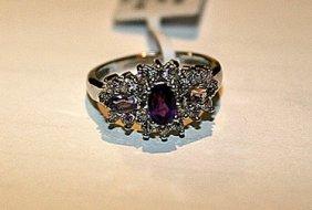 Beautiful Womens Amethyst & White Sapphire Ring