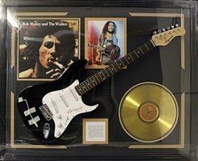 "Memorabilia ""bob Marley"" Autographed Guitar With Gold"