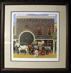 """Lithograph """"engine Co. #4"""" By Herb Fillmore"""