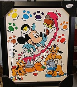 """Framed Lithograph """"mickey & Pluto's Pups Painting"""""""
